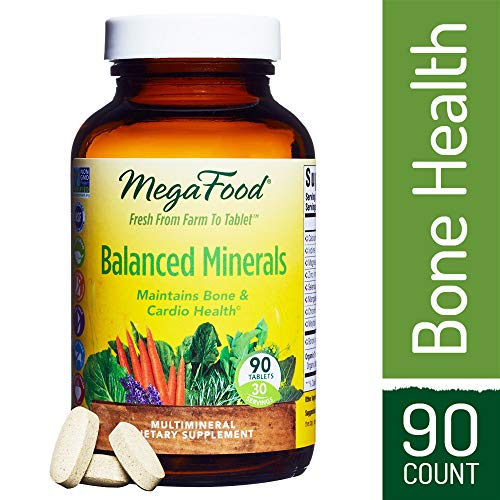 MegaFood - Balanced Minerals, Promotes Bone Development, Heart Health, Muscle Function, and Metabolism with Organic Herbs, Vegetarian, Gluten-Free, Non-GMO, 90 Tablets -