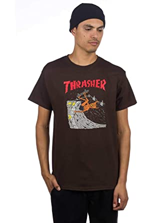 Amazon.com  Thrasher Neckface T-Shirt Brown 7450295d3f