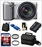 Sony NEX 5R (Silver) with SEL 18-55mm Lens + Sony Camera Bag + Spare Battery + Multi-Coated Filter Kit + 32GB Deluxe kit, Best Gadgets
