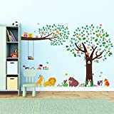 Decowall DML-1312P1410 Large Tree with Animal Friends and Branch with Owls Kids Wall Decals Wall Stickers Peel and Stick Removable Wall Stickers for Kids Nursery Bedroom Living Room