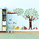 Decowall, DM-1312P1410, Large Tree and Animal Friends and Large Branch & Owls peel & stick Nursery wall decals stickers