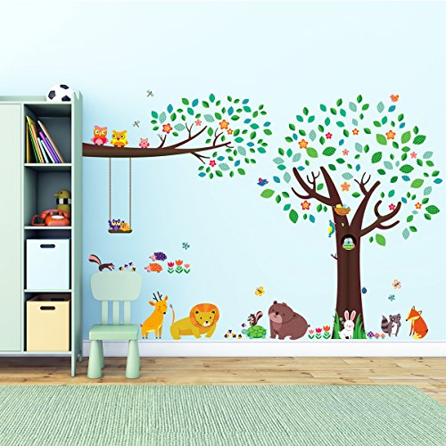 Decowall, DM-1312P1410, Large Tree and Animal Friends and Large Branch & Owls peel & stick Nursery wall decals stickers (Boy Nursery Wall Decals compare prices)