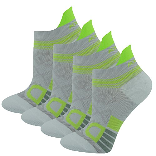 Athletic No Show Socks WXXM Womens Running Superlite Fashion Comfort Heel Shield Ankle Socks 4 Pairs White Green (Womens Ultralight Trail Sock)