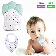 FITARTS Teething Mitten Baby - Soothing Teether Mitten Teething Toys Glove for babies BPA FREE Safe Food Grade Silicone Drool Bibs included 2018 NEW (Mint Green 1pc)