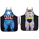 Ls Lady Two Pieces Creative Anime Cartoon Hero Character Series Modern Family 2pcs Apron Couple Kitchen Aprons Barbecue/bbq Apron
