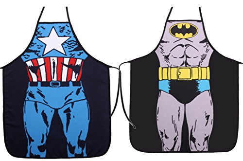 Ls Lady Two Pieces Creative Anime Cartoon Hero Character Series Modern Family 2pcs Apron Couple Kitchen Aprons Barbecue/bbq (Cartoon Character Couples)