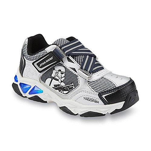 Disney Star Wars Boy's Stormtrooper Black/White Light-Up Sneaker (11) (Star Wars Boys)