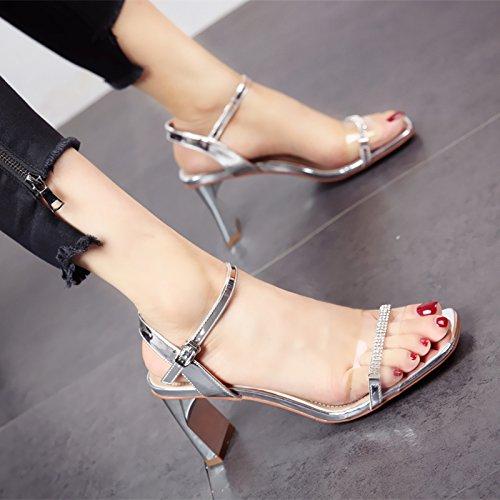 YMFIE Verano Nuevo Sexy Moda Rhinestone Baile Zapatos de tacón Alto Dama Toe Sandalias de Correa de Tobillo silvery