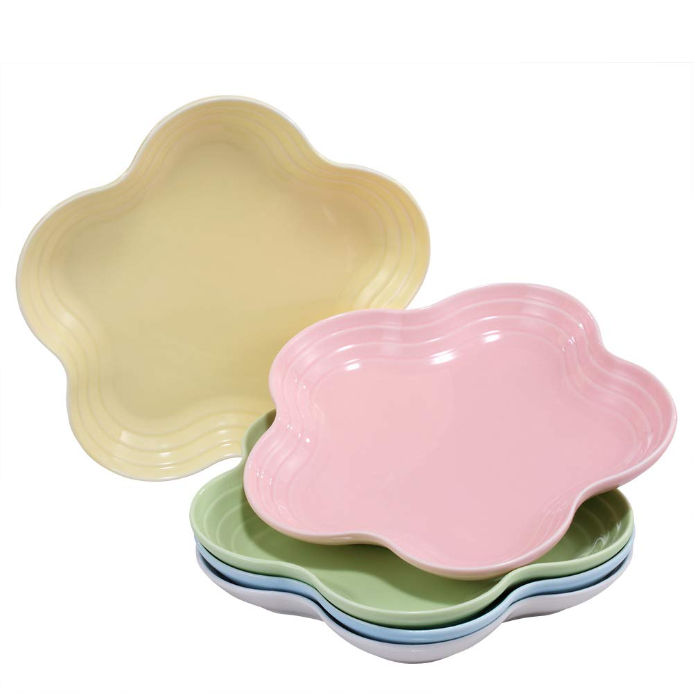 BonNoces 8-inch Porcelain Dinner Plates Set, Pasta and Sandwich, Butter, Salad/Dessert Serving Platters, Assorted Colors, Set of 5 5 -Multicolor Pasta