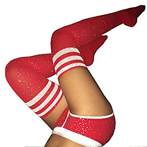 Women Winter Sexy Rhinestone Thigh High Socks Cable Knit Colorful Striped Stockings Girls Over Knee Leg Warmers (Red White -