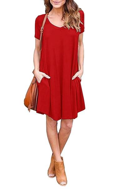 Jouica Women s Pockets Casual Plain Flowy Simple Swing T-Shirt Loose ... 67c01ed4f719