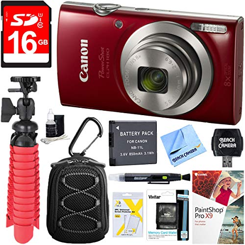 Canon PowerShot ELPH 180 20MP 8x Optical Zoom Digital Camera (Red) + 16GB SDHC High Speed Memory Card & Accessory Bundle