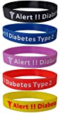 "5 Pack - ""Diabetes Type 2"" Silicone Bracelet Wristbands"