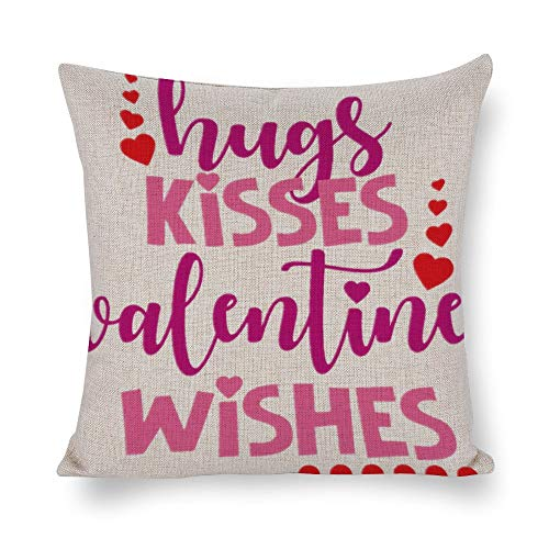 Welkoom Sofa Pillow Cases Square Pillow Covers 18 X 18 Hugs Kisses Valentine Wishes Cotton Linen Decorative Cushion -