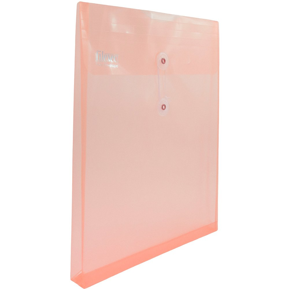 JAM Paper Plastic Envelope with Button and String Tie Closure - Letter Open End - 10 1/4'' x 13'' - Pink Frosted -108/pack by JAM Paper (Image #3)