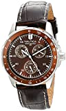 """Nautica Men's N09550G """"Windseeker"""" Stainless Steel Watch with Brown Leather Band"""