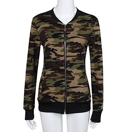 Grün Elegante Moda Army Con Giacca Giacche Primaverile Coat Lunghe Camuffare Maniche Giubbino Militare Cerniera Autunno Vintage Casual Outerwear Donna 5UqO8Oz