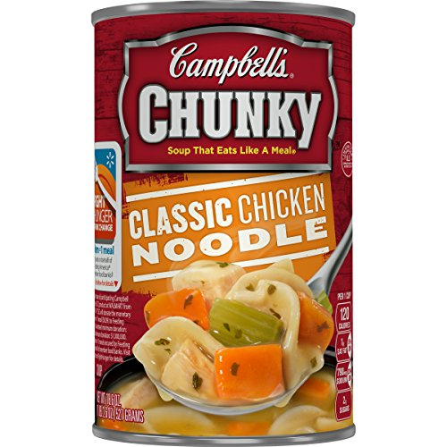 Campbell's Chunky Soup, Classic Chicken Noodle with White Meat Chicken, 18.6 Ounce, 4 Count (Pack of 2) Chunky Chicken Soup