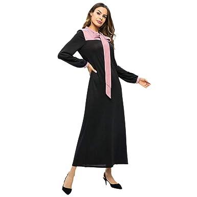 dcdaba595a Ladies Arab Muslim Long Skirt Casual Fashion Striped Panel Maxi Dress at Amazon  Women's Clothing store: