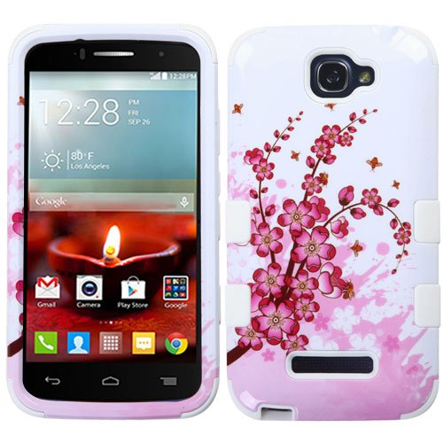 One Touch Fierce 2 7040T, Pop Icon A564C Case - Wydan (TM) TUFF Impact Hybrid Hard Gel Shockproof Case Cover For Alcatel One Touch Fierce 2 7040T, Pop Icon A564C - Cherry Blossom