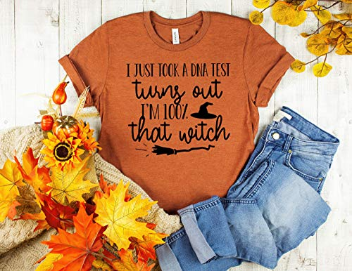 halloween outfit funny halloween tee halloween shirt witch tshirt I just took a DNA test turns out i'm 100% that witch