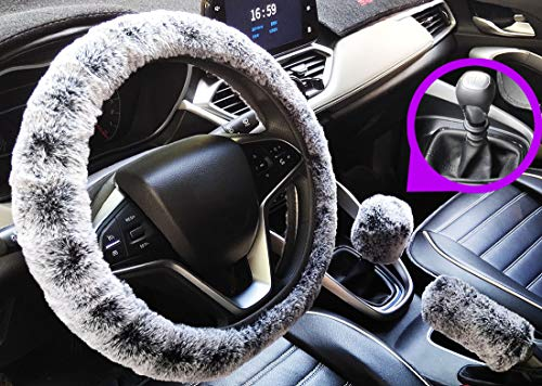 acdiac 3pcs Fuzzy Car Steering Wheel Covers Winter Faux Wool Handbrake Cover&Gear Shift Cover Set Car Seat Cover Interior Accessories-14.96″(38cm) (Black&Gray for Manual)