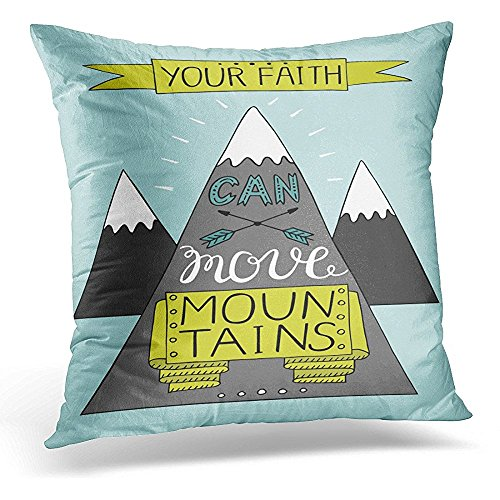 Throw Pillow Cover Hand Lettering Your Faith Can Move Mountains Biblical Christian Modern Calligraphy Scripture Decorative Pillow Case Home Decor Square 20x20 Inches Pillowcase by Starobos