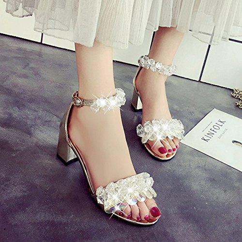 sandali scarpe yalanshop alla tacchi da ruvide e scarpe dei bambina e dita piedi tacco moda fiocchi alto Golden Diamante col ragazze T5r0qT