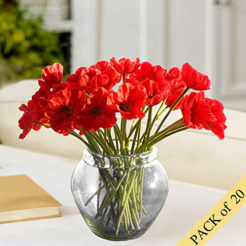 (HO2NLE 20pcs Realistic PU Artificial Poppies Flowers Fake Wedding Bouquet Arrangements for Home Kitchen Living Room Dining Table Centerpieces Decorations Red)
