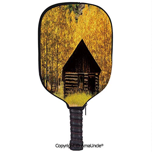 SCOXIXI 3D Pickleball Paddle Racket Cover Case,Abandoned Wooden Farmhouse in Fall Aspen Trees Rural Pastoral Nature SceneCustomized Racket Cover with Multi-Colored,Sports ()