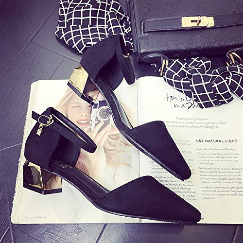 Shoes Women'S Black High With Mouth Comfortable Size High Shoes Pointed Shallow Yukun Women'S Size Heels With Large Small heels Thick P4nxv
