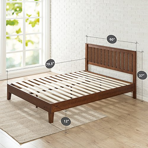 Zinus 12 Inch Deluxe Solid Wood Platform Bed with Headboard / No Box Spring Needed / Wood Slat Support / Antique Espresso Finish, Queen