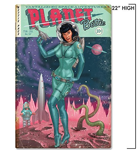 Planet Bettie sci fi metal wall art 15x22