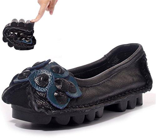 Retro Handgemaakte Dameszool Van Leer Retro Handgemaakte Slip Op Rijdende Loafers Zwart