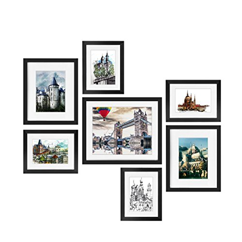 Transmission 4 Piece (BOJIN Picture Frames Set, 7-Piece Wood Photo Frames, One 10X12 (8X10 matted), Two 8x10 ( 5x7 matted) Four 6x8 (4x6 matted) for Wall Corridor Family Room Art Decoration (Black))