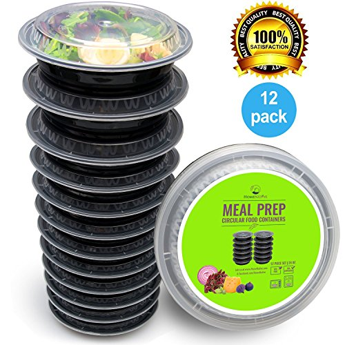 Price comparison product image Round Meal Prep Containers Set - Portion Control Bento Box- Food Storage / Restaurant Foodsavers - 12pk