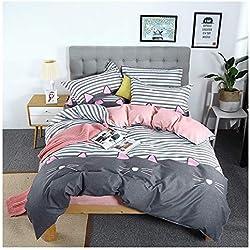 ORIHOME Juego de ropa de cama con impresión de gato, disponible en diferentes tamaños, 4 piezas, para recámara de niñas (sin edredón) MLU, Cute Cat,gray, Full,59''x79''