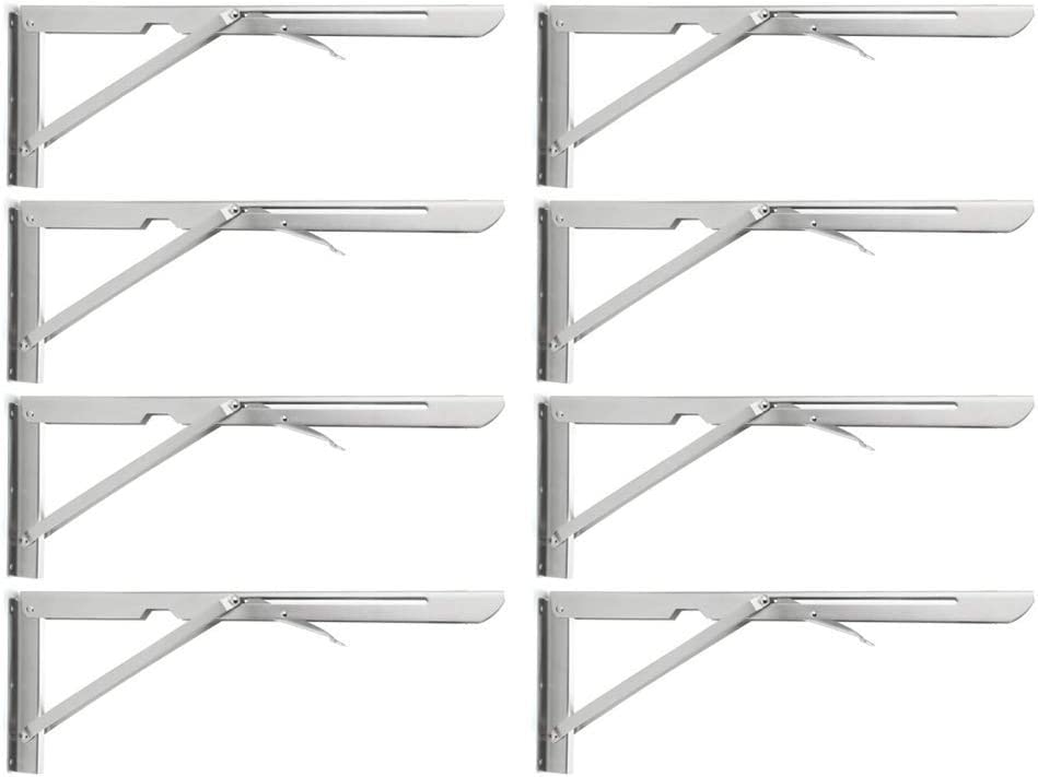 "Folding Shelf Brackets 20"", Heavy Duty Stainless Steel Collapsible Shelf Bracket for Table Work Bench, Space Saving DIY Bracket,Max Load 500 lb. Pack of 8 (20 in)"