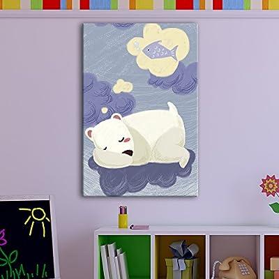 "Cute Cartoon Animals Canvas Wall Art - A Sleeping Polar Bear Dreaming of Fish - Giclee Print Gallery Wrap Kid's Room Wall Art   Ready to Hang - 12"" x 18"""