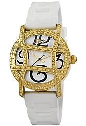"JBW Women's JB-6241-D ""Olympia"" Sport Gold White Designer Silicone Diamond Watch"