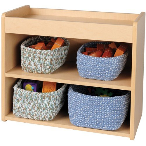 Toddler Laminate Two-Shelf Storage Shown With Chenille Baskets (Sold Separately)