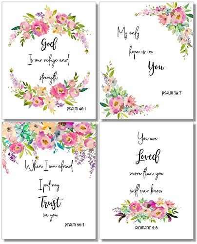 Inspirational Wall Art - God is Our Refuge (Set of 4) - Religious Prints - 10x8 - - Religious Prints