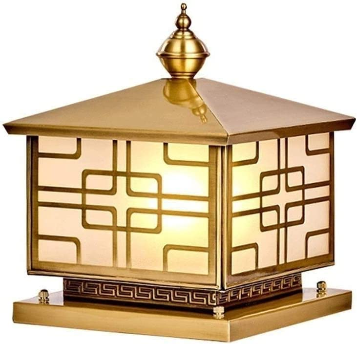 Jblyl エクステリアデッキ経路パティオ照明用ラグジュアリー真鍮の列をライトドア中庭の柱テーブルライトIP55防水アルミガラスランタン