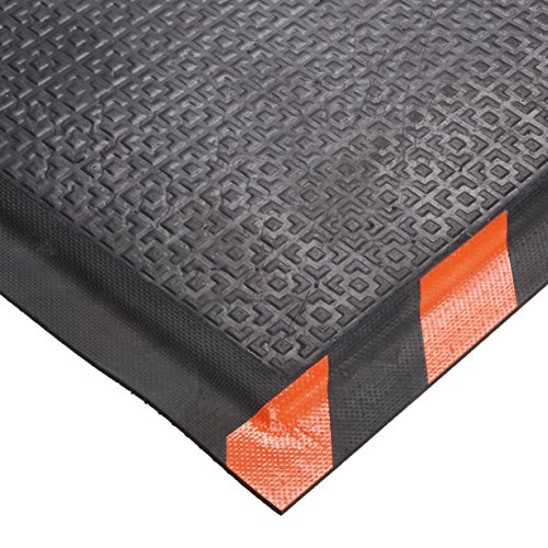 Andersen 466 Happy Feet Nitrile Rubber Texture Surface Anti-Fatigue Interior Floor Mat with Striped Orange Border, 3' Length x 2' Width, 1/2