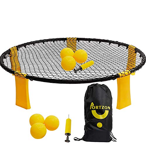 Portzon 3 Ball Kit - Volleyball Spike Game Set Includes Playing Net, 3 Balls, Drawstring Bag]()