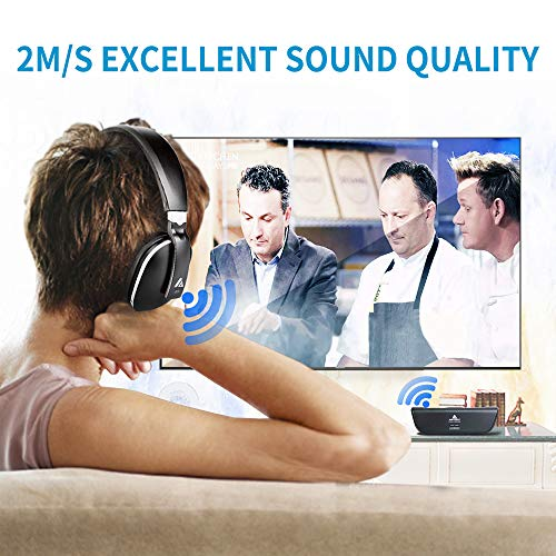 Wireless Headphones for TV Watching with Optical, ARTISTE ADH300 2.4GHz Digital Wireless TV Headphones, 100ft Distance Rechargeable for TV/PC/Phone (Black with Optical) by ARTISTE (Image #2)