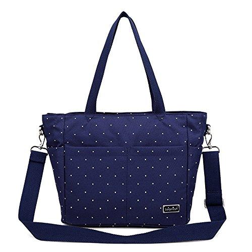Bolso de la momia, bolso de hombro, madre fuera del paquete, paquete de las mujeres embarazadas, bolsos maternos e infantiles, bolsas de compras impermeables ( Color : Blue flowers ) Blue wave point