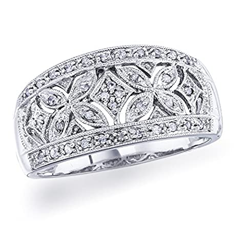 Diamond Vintage Band in Sterling Silver (0.14 carats, H-I I1) - Sterling Silver Diamond Antique Ring