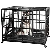 ITORI 42'' Heavy Duty Metal Dog Cage Strong Kennel Crate and Playpen for Training Large Dog and Pet Indoor and Outdoor with Double Doors & Locks Design Included Lockable Wheels and Removable Tray
