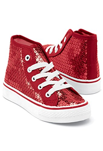 Balera Sequin High Top Dance Sneakers Red 5AM ()